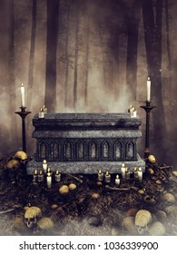 Dark forest scene with a gothic altar, candles, skull and bones scattered around it. 3D illustration.
