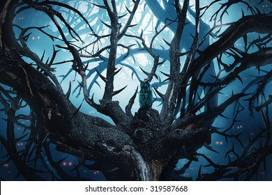 dark forest with thorny trees and red eyes at night