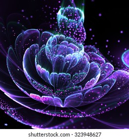 Dark fractal flower with pollen, digital artwork for creative graphic design