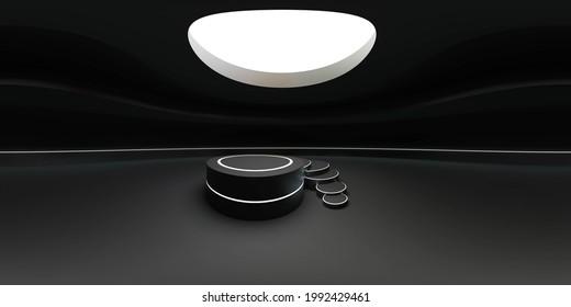 dark futuristic 360 degree panorama view of futuristic round empty product presentation exhibition hall 3d render illustration hdri hdr vr style