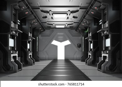 Dark futuristic spaceship interior with corridor and gear (3D Rendering)