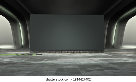 dark futuristic Virtual studio background with a big empty videowall display, ideal for tv shows or scientific events. A 3D rendering, suitable on VR tracking system stage sets, with green screen