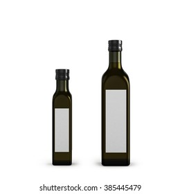 dark glass bottles for olive oil of different sizes isolated on white