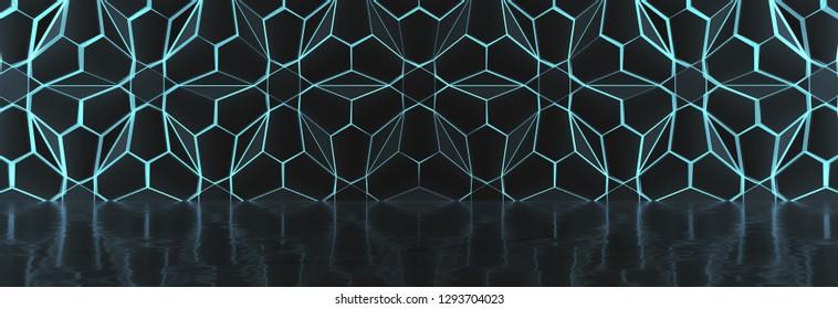 Dark Glowing Futuristic Hall (3D Illustration)