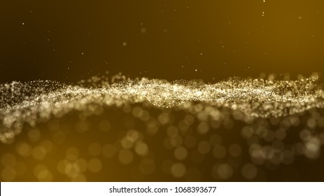 Dark gold yellow and glow dust particle abstract background.