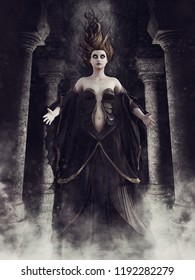 Dark gothic crypt with columns and a ghost sorceress floating in a cloud of mist. 3D illustration