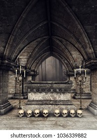 Dark gothic crypt with human skulls, candles and a stone sarcophagus. 3D illustration.