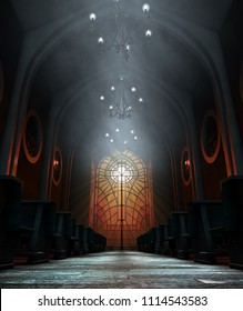A dark grand church interior lit by suns rays penetrating through a glass window in the pattern of a crucifix - 3D render