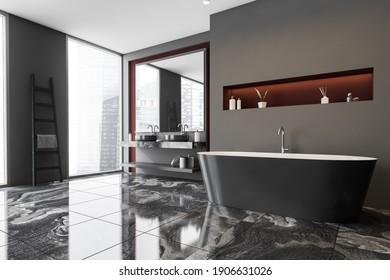Dark gray bathroom interior with a marble floor, panoramic windows, grey bathtub. Double sink. Skyscrapers City view. 3d rendering