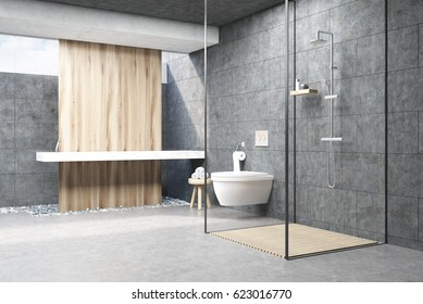 Dark gray bathroom interior with a wooden panel, a shower with glass walls, a double sink and a toilet. 3d rendering.