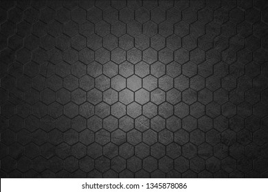 dark gray hexagon background and real texture for material design. 3d illustration.