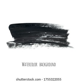 Dark gray ink watercolor hand painted texture background isolated on white. Abstract acrylic dry brush splash, strokes, stains, spots, blot, scribble, smudge. Black charcoal grunge drawing.
