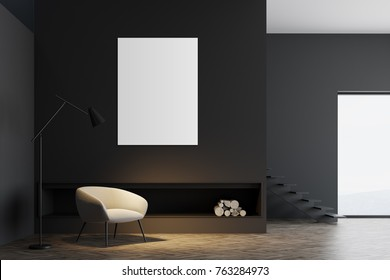 Dark gray living room interior with a vertical poster near a soft white armchair and a fireplace. 3d rendering mock up