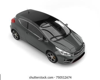 Dark gray modern e-car - top down view - 3D Illustration
