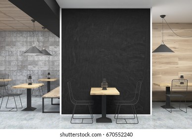 Dark gray wall cafe interior with a large black wall fragment in the center, a table with a bottle near it and old oil lamps on square wooden tables. 3d rendering mock up