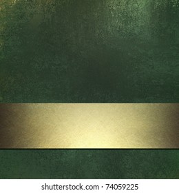 dark green background with grunge texture and gold ribbon stripe design layout