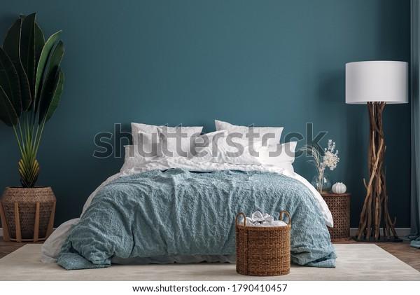 Dark Green Bedroom Interior Background 3d Stock Illustration 1790410457