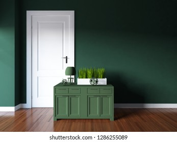 dark green empty interior with a dresser and other decor. 3d illustration