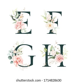 Dark Green Floral Alphabet Set Collection - letters E, F, G, H with peach pink white gold botanic flower branch bouquets composition. Wedding invitations, baby shower, birthday, other concept ideas.