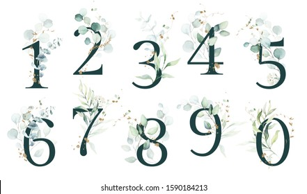 Dark Green Floral Number Set - digits 1, 2, 3, 4, 5, 6, 7, 8, 9, 0 with green leaves, botanic branch bouquet composition. Unique collection for wedding invites decoration & other concept ideas.