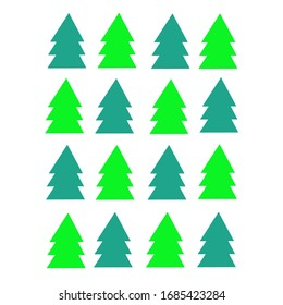 Dunkelgrüne und hellgrüne Bäume auf weißem Hintergrund