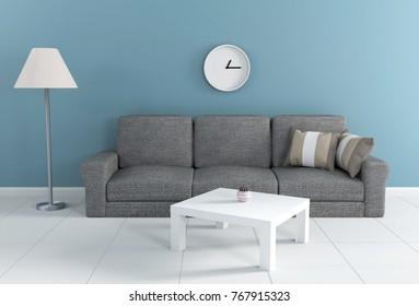 Dark Green Living Room 3d rendering