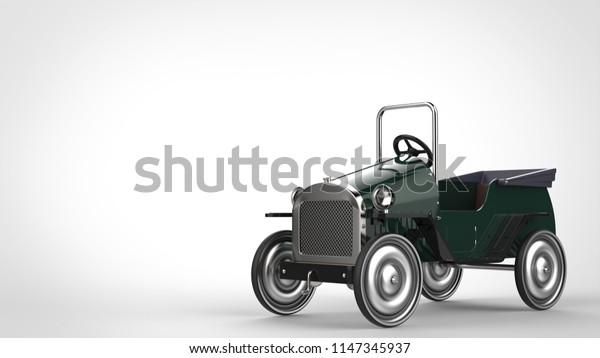 Dark green vintage toy car - 3D Illustration