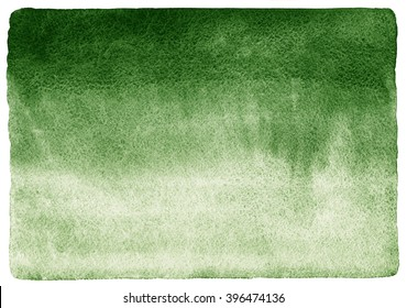 Dark green watercolor background. Gradient fill. Deep-green hand drawn watercolour texture. Nature, eco template. Rough, uneven edges and rounded corners.