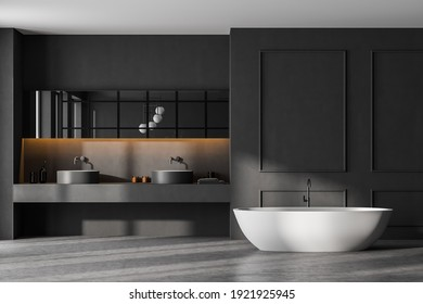 Dark grey bathroom with white bathtub and two sinks with mirror. Minimalist design of modern marble bathroom 3D rendering, no people
