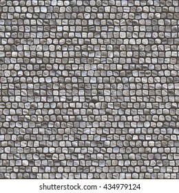 Dark grey old granite cobbleston block pavement texture background (Tiles seamless, High-resolution 3D CG rendering illustration)