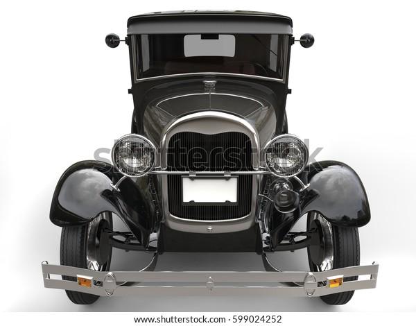Dark grey vintage car - front view closeup shot - 3D Render