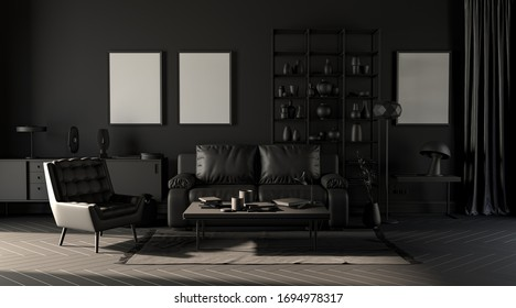 Dark greyscale room with empty picture frames on the wall, sofa, armchair, floor lamp, carpet and curtain in  monochrome black color, 3d rendering for poster mockup.