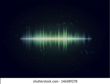Dark grungy card with glowing music waveform