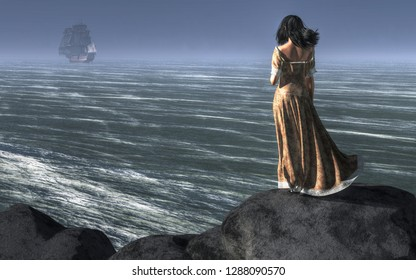 A dark haired woman stands atop a cliff looking out to sea. The ocean breeze blows through her hair and makes her brown dress sway in the wind.  Off in the distance, a ship sails away. 3D Rendering