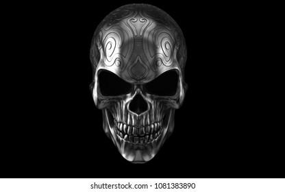 Dark heavy metal ornamental skull - front view - 3D Illustration