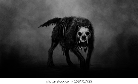 Dark horror art, mystique dog