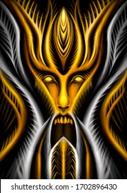 Dark, horror deity or demon in the form of a large mystical Golden face or mask with wide open mouth, tentacles and thorns in the gothic style, symmetric, with large horns and crown on the head.