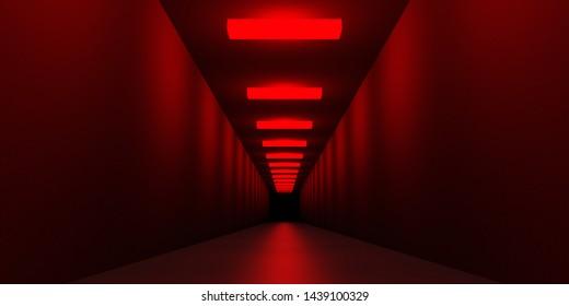 暗い恐怖の無限の廊下の悪夢のシーン3Dイラスト