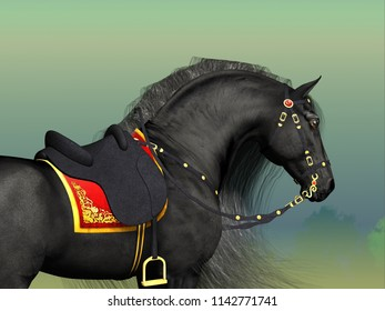 Dark Horse 3D illustration - A Friesian black stallion adorned with fancy Classic saddle and bridle horse tack.