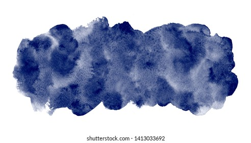 Dark, indigo, navy blue watercolor rectangle background, frame. Long, elongated watercolour shape with stains. Painted template for banners. Hand drawn abstract aquarelle fill, texture. Rounded edge.