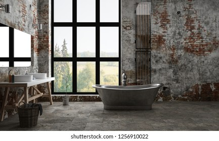 A dark, industrial apartment bathroom with peeling paint and a bright window view. 3d Rendering