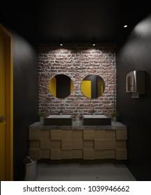 Dark and industrial bathroom interior - 3 D render