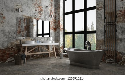 A dark, industrial styled brick apartment bathroom with peeling paint and a bath tub with a window view. 3d Rendering