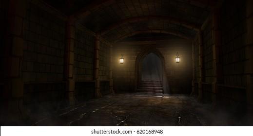 Dark interior of medieval dungeon. 3D illustration