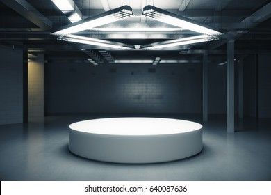 Dark interior with podium. Exhibition concept. Mock up, 3D Rendering