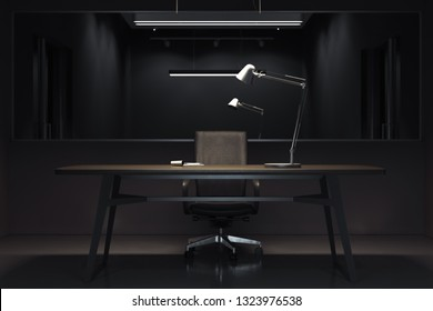 Dark interrogation room with switched-off lamp and big mirror, 3d rendering.