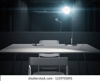 Dark interrogation room with switched-on lamp and big mirror, 3d rendering.