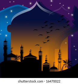 Dark islamic background with mosque and architectural icons
