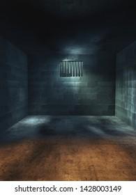 Dark jail cell at night /  High contrast image, 3D render, illustration