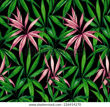 dark jungle seamless pattern. watercolour illustration.
